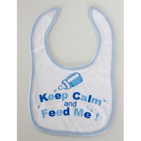 """""""Keep calm and feed me"""" blue Bib"""