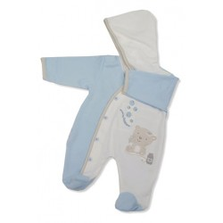 "Baby ""Blowing Bubbles"" Blue Hooded Onesie"