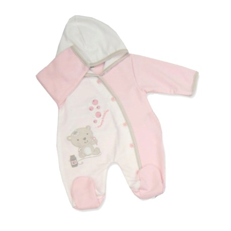 "Baby ""Blowing Bubbles"" Pink Hooded Onesie"