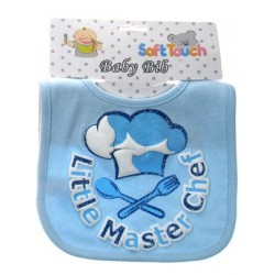 """Little Master Chef"" cotton bib with glitter print blue"