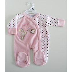"Baby Velour All in One ""little bear"" pink"