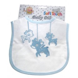 Cute Baby Cotton Bib with Embroidered Deer design blue
