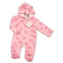 """Pyjama à capuche """"coeurs"""" rose"""