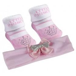 """Ensemble chaussettes et bandeau """"Little princess"""" motif couronnes strass"""