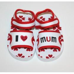 "Sandales ""I love Mum"" rouges et blanches"