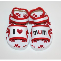 "Soft sandals ""I love Mum"" red and white"