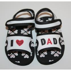 "Sandales ""I love Dad"" blanches et noires"