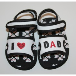 "Soft sandals ""I love Dad"" black and white"
