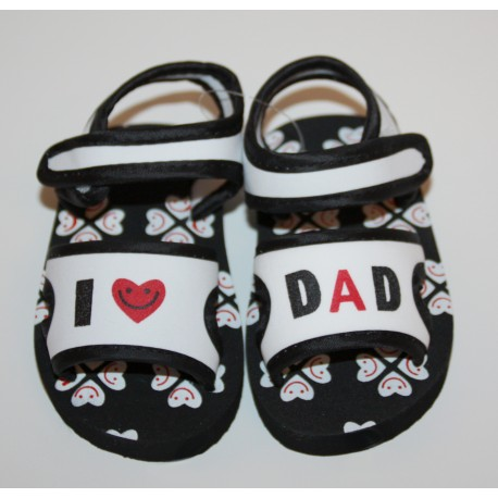 """Soft sandals """"I love Dad"""" black and white"""