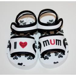 "Sandalen ""I love Mum"" wit en zwart"