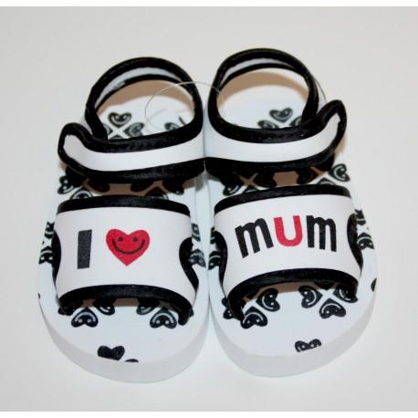 """Soft sandals """"I love Mum"""" black and white"""