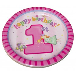 "Assiettes en carton ""1st Birthday"" rose x8 (22 cm)"