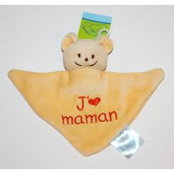 """Mini doudou ourson """"J'aime Maman"""" jaune"""