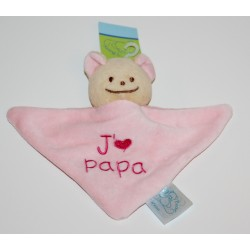 "Mini doudou ourson ""J'aime Papa"" rose"