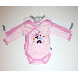 "Pack de 3 bodies ""Minnie"" rose / blanc"