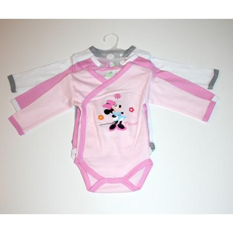 """3 body's """"Minnie"""" roze / wit"""