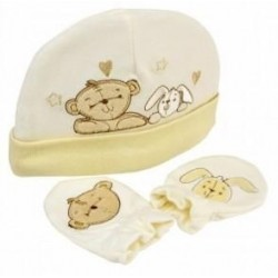 "Ensemble bonnet et moufles ""ourson"""
