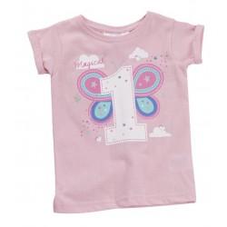 """T-shirt meisje """"1 jaar"""" roze"""