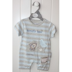 "Grey and blue striped romper ""teddy bear"""