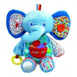 """Peluche d'éveil éléphant """"Le monde d'Eric Carle"""" bleu"""