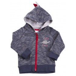 "Hoddie zip ""dinosaur"" blue with red zipper"