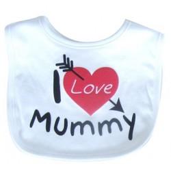 """Bavoir """"I Love Mummy"""" blanc"""