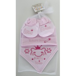 Embroidered princess hat, bib & bootees set pink