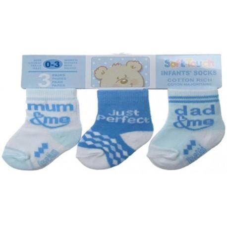 Packs Of Socks With 3 Designs - Boys Blue Pack