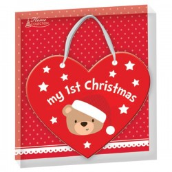 "Hanging heart Christmas decoration ""My first Christmas"" bear"