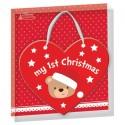 "Kertversiering hart ""My first Christmas"" beertje"