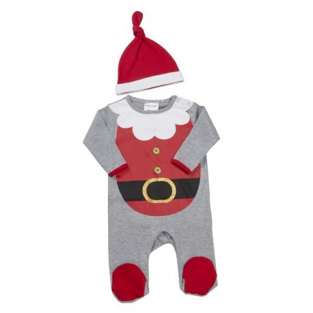 """Pyjama """"Kerstman"""" grijs en rood met muts"""